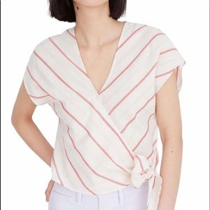 NWOT MADEWELL Stripe sash side tie top